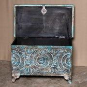 k69 2455 indian furniture trunk geometric carvings blue open