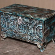 k69 2455 indian furniture trunk geometric carvings blue angle