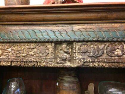 kh18 067 indian furniture bookcase carved vintage reclaimed link ganesh