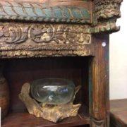 kh18 067 indian furniture bookcase carved vintage reclaimed link corner