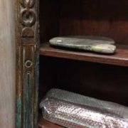 kh18 067 indian furniture bookcase carved vintage reclaimed chain edge