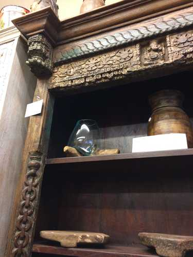 kh18 067 indian furniture stunning unique bookcase carved vintage reclaimed angle up