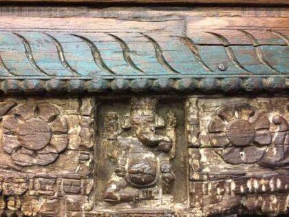 kh18 067 indian furniture bookcase carved vintage reclaimed ganesh close carving