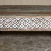 k69 2432 indian furniture coffee table carved edges white small front