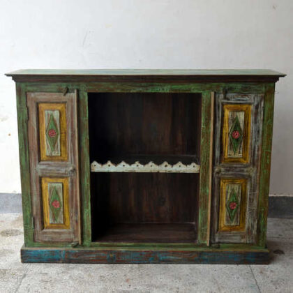 kh19 RS2020 099 indian furniture colourful unique sideboard diamond front