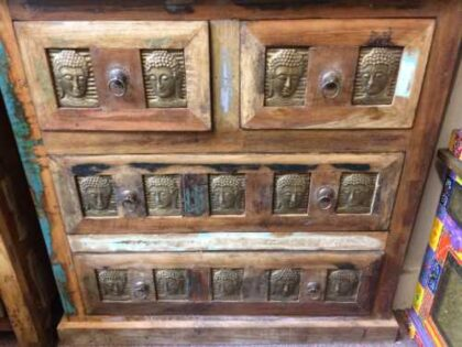 kh20 173 indian furniture buddha chest of drawers reclaimed close front
