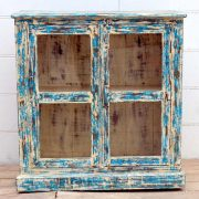 kh19 RS2020 005 indian furniture cabinet blue cream glass distressed front