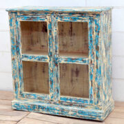 kh19 RS2020 005 indian furniture cabinet blue cream glass distressed side