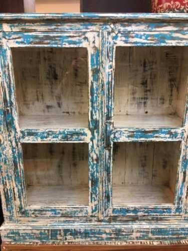 kh19 RS2020 005 indian furniture cabinet blue cream glass distressed front close