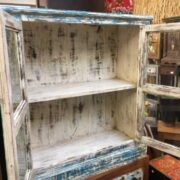 kh19 RS2020 005 indian furniture cabinet blue cream glass distressed open