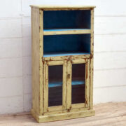 kh19 RS2020 015 indian furniture bookcase with cabinet cream