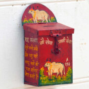 kh19 RS2020 019 indian accessory donation tin box red money box cow side
