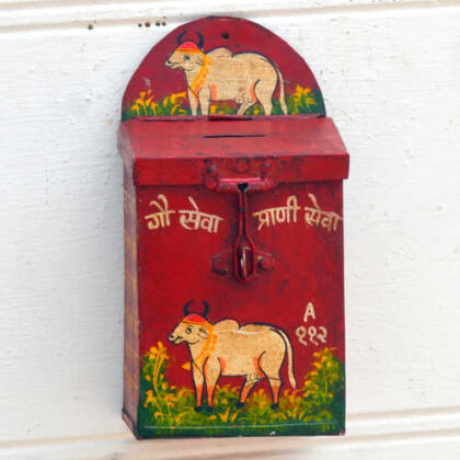 kh19 RS2020 019 indian accessory donation tin box red money box cow front