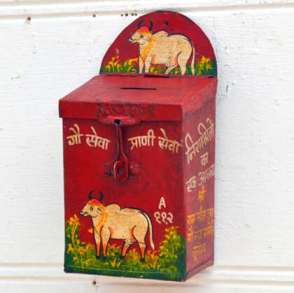 kh19 RS2020 019 indian accessory donation tin box red money box cow