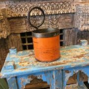 kh19 RS2020 021 indian recycled metal tin pots colourful orange