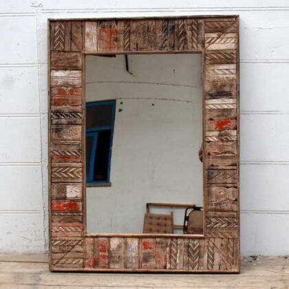 kh19 RS2020 058 indian furniture reclaimed carved mirror large front