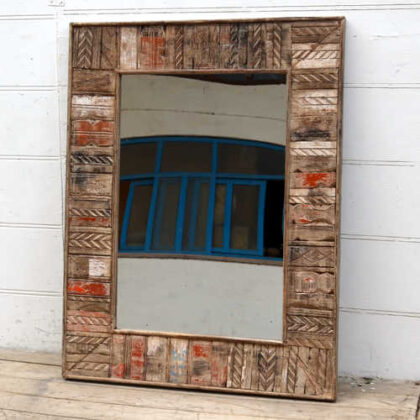 kh19 RS2020 058 indian furniture reclaimed carved mirror large angle