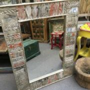 kh19 RS2020 058 indian furniture reclaimed carved mirror large