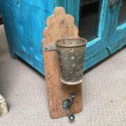 kh19 RS2020 072 indian hook holder wood metal unusual side