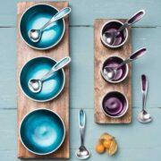 AL362 namaste indian accessory gift blue aluminium bowls range