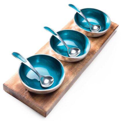 AL362 namaste indian accessory gift blue aluminium bowls