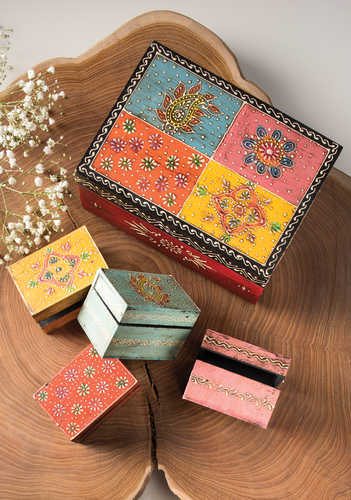 BXL180 namaste indian accessory gift hand painted box rect 2