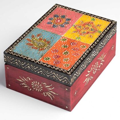 BXL180 namaste indian accessory gift hand painted box rect