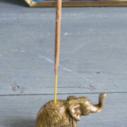 IH40 namaste indian accessory gift elephant incense holder brass