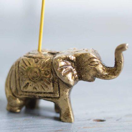 IH40 namaste indian accessory gift elephant incense holder brass 2