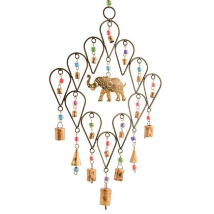 MD180 namaste indian accessory gift hand painted hanging metal elephant bells