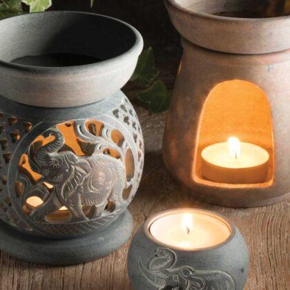 OB80 namaste indian accessory gift oil burner elephant soapstone 2