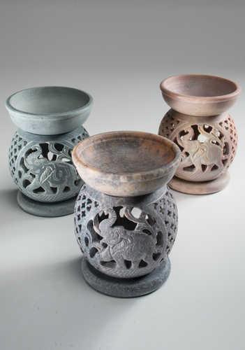 OB80 namaste indian accessory gift oil burner elephant soapstone