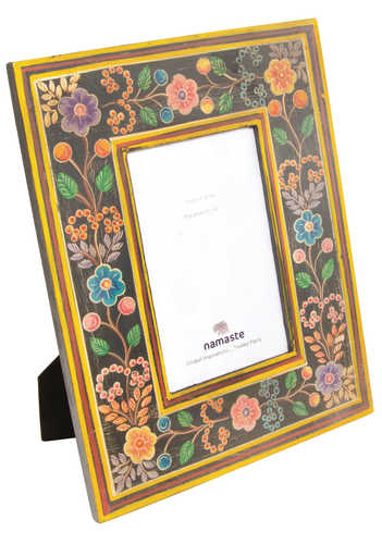 PF42 namaste indian accessory gift photo frame painted floral black