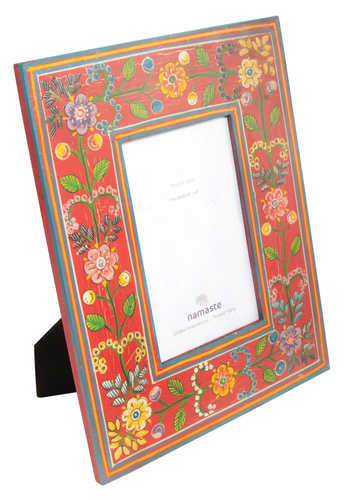 PF42 namaste indian accessory gift photo frame painted floral red