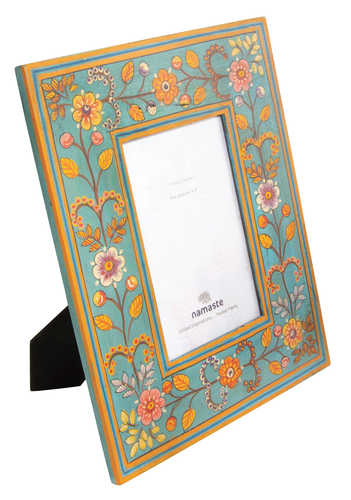 PF42 namaste indian accessory gift photo frame painted floral turquoise