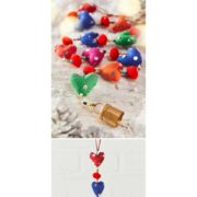STR33 namaste indian accessory gift hanging hearts fabric