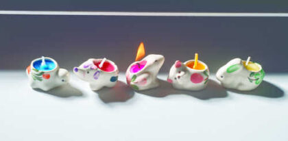CA7 namaste accessory gifts ceramic candles animal lit
