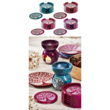 CO26 namaste accessory gifts soapstone coasters tree of life colourful
