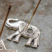 IH56 namaste indian accessory gifts incense catcher elephant silver