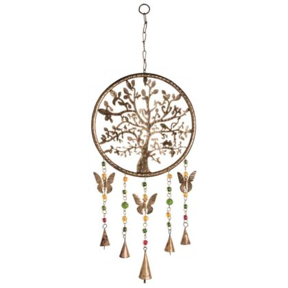 MD170 namaste indian accessory gifts metal hanging butterfly bells