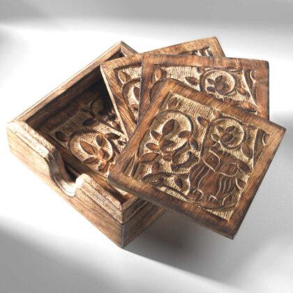NH25 namaste indian accessory gift mango coasters owl