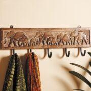 NH6 namaste indian accessory gifts 5 hooks mango elephant display