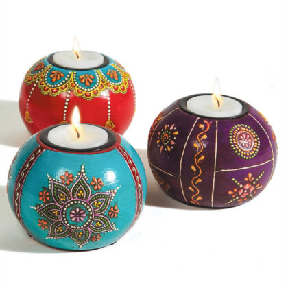TL16 namaste indian accessory gift hand painted tea light