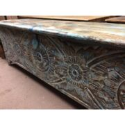 k72 455 indian furniture Attractive Eye Catching Hand Carved Floral Trunk Main