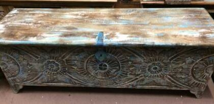 k72 455 indian furniture Attractive Eye Catching Hand Carved Floral Trunk Straight