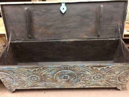 k72 455 indian furniture Attractive Eye Catching Hand Carved Floral Trunk Open