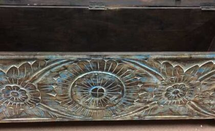 k72 455 indian furniture Attractive Eye Catching Hand Carved Floral Trunk Inside