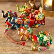 str91 namaste indian accessory gift fabric hanging elephants