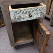 kh12 m 12720 indian furniture bedside driftwood door open