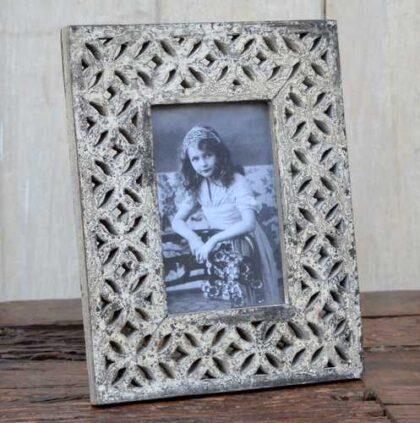 kh12 m 9208 indian photo frame flower carved angled